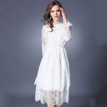 New Women Romantic White Lace Dress Robe Femme Ete 2018 Vestidos Ukraine Jacquard Long Sleeved Party Dresses Ropa Mujer 608165