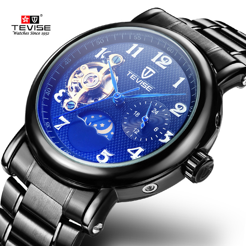 TEVISE Automatic Watch Men Moon Phase Tourbillon Skeleton Watch Mechanical Wristwatches Causal Male Clock Relogio Masculino tevise men automatic self wind mechanical wristwatches business stainless steel moon phase tourbillon luxury watch clock t805d