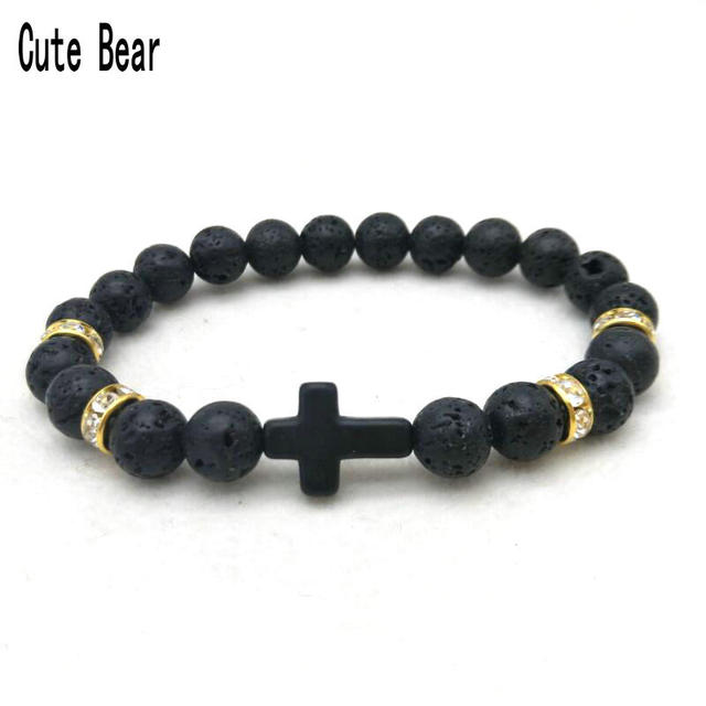 Cute Bear Lava Stone Matte Beaded Cross Bracelets Women Men Jewelry Natural Bangles Pulseras