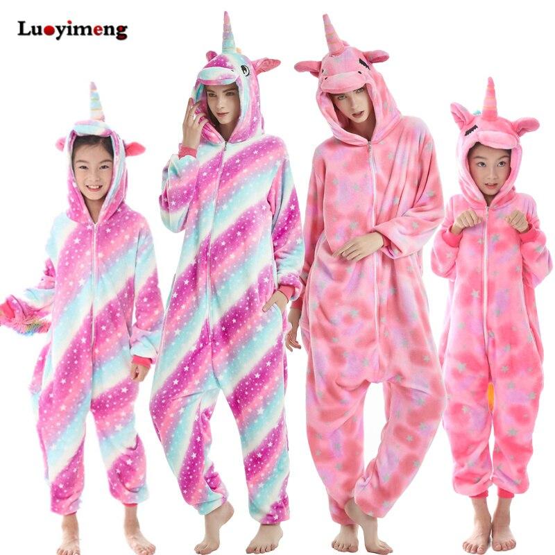3aecc49f303 US $6.02 33% OFF|Baby Girl Clothes Boys Rainbow Unicorn Pajamas Winter  Women Flannel Kigurumi Animal Hooded Stitch Onesie Sleepwear Kids  Pyjamas-in ...