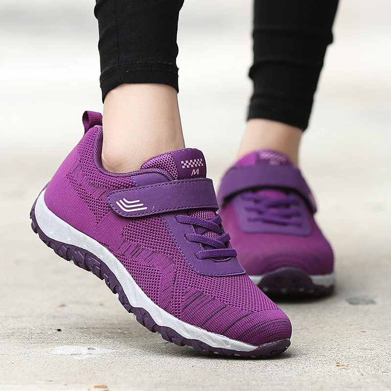 Tenis jujube Ligero Rose Ancianos Zapatos Femenino Mujer De Red Saludable Madre Deporte Zapatillas black Fondo Purple gray Vuelo Plano Cw0aBqa