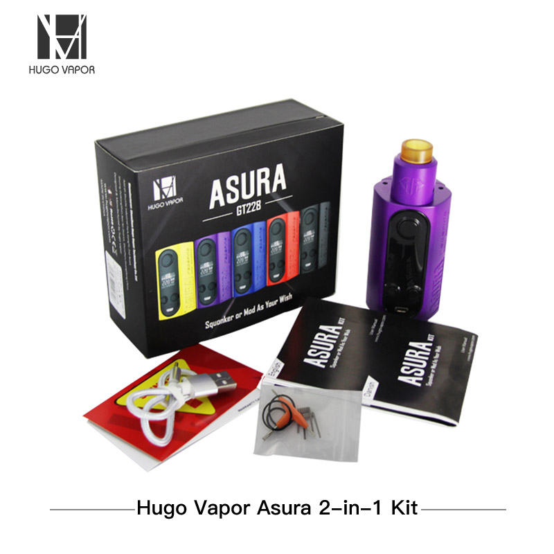 Original Electronic Cigarettes Hugo Vapor Asura 2 in 1 228W Squonk Box Mod Kit TC E