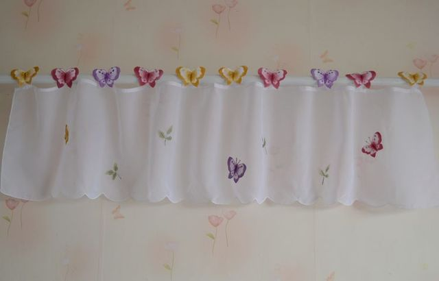 Small Butterfly Sheer Curtain White Kitchen Curtains Window Valance 3 Sizes 3d