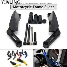 цены Motorcycle CNC crash pad Engine Cover Frame Sliders Crash Protector FOR yamaha MT-09 FJ09 FZ09 MT09 MT 09 2013 2014 2015 2016