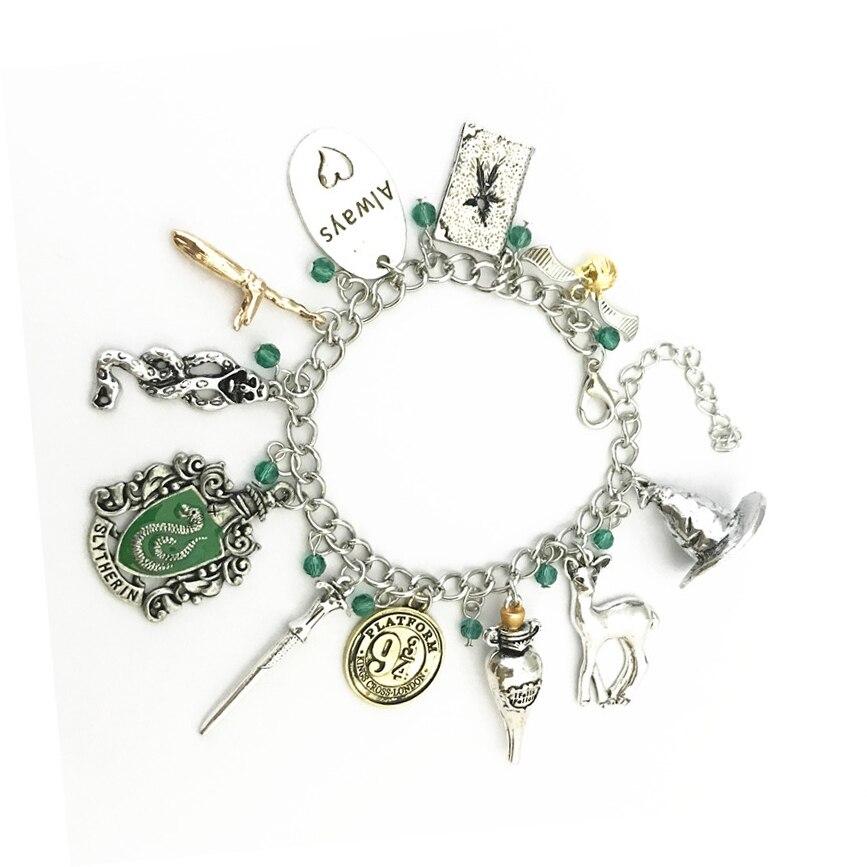 Potter Gryffindor/Hogwart Time Turner Horcrux Bracelets Deathly Hallows Dark Mark Sorting Hat Men Women Trinket Wristlet