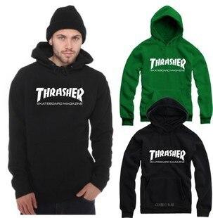 Thrasher Hoodie M-4XL Hooded Couple Woman Mens  Hoodies and Sweatshirts  Streetwear Blue Black Fleece Hip Hop Sudaderas Hombre