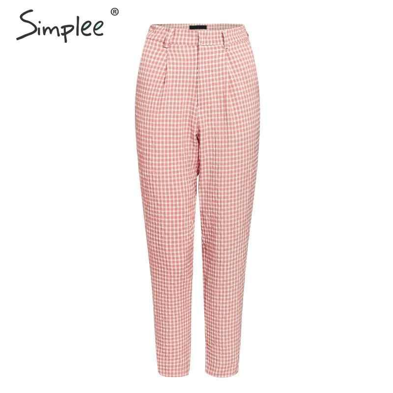 Женские розовые штаны Simlee в клетку, летние повседневные винтажные штаны, прямые брюки в британском стиле для офисных дам, 2019