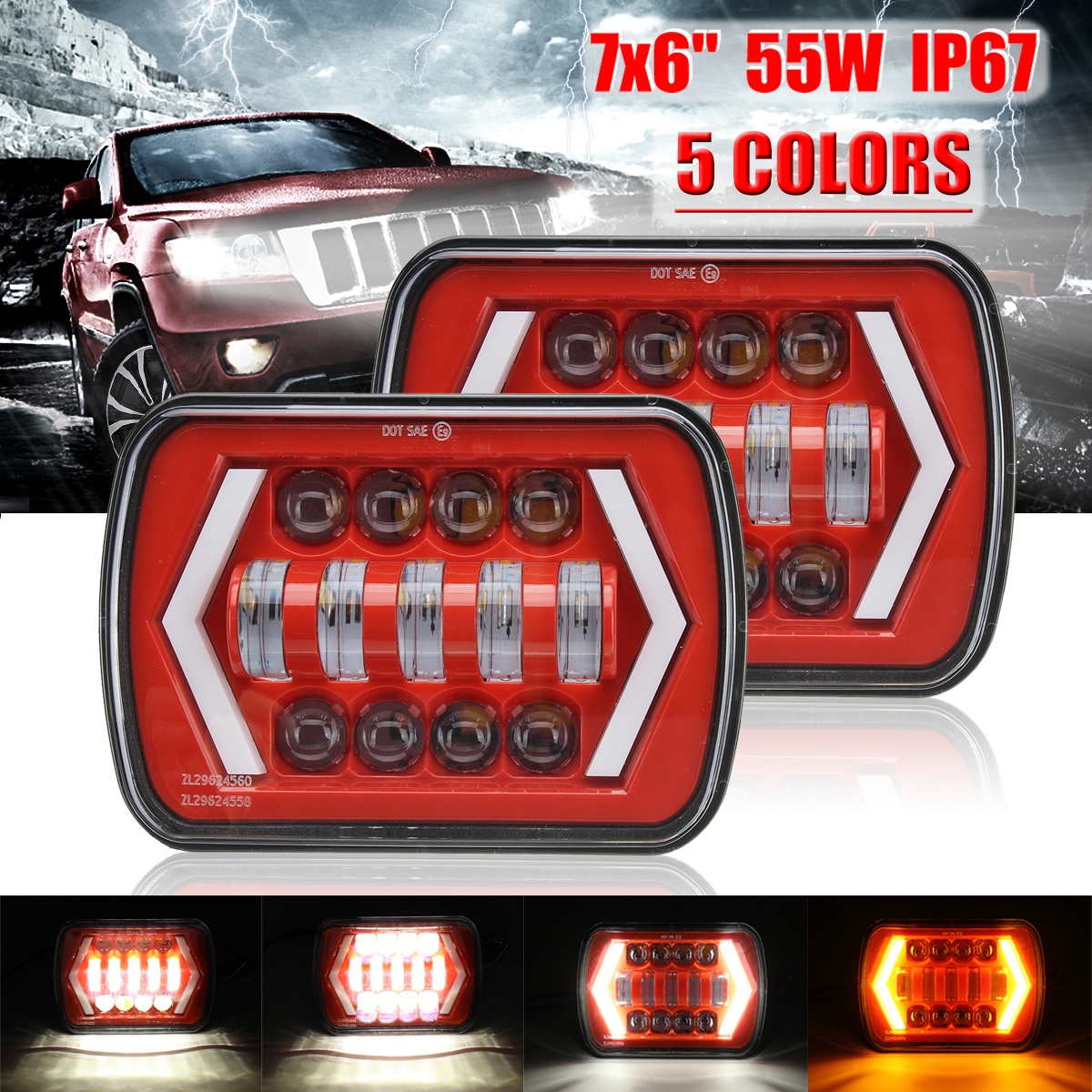 2Pcs Red DOT 55W 7x6'' 5X7 LED Projector Headlight Hi-Lo Beam Halo For Jeep Cherokee