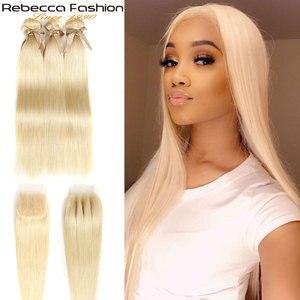 Rebeca moda 613 paquetes rubios con cierre brasileño recto 3/4 paquetes con cierre extensión de cabello Remy cabello humano