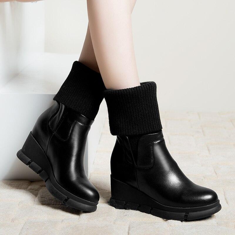 Talons Femelle Vache noir Beige Coins Chaussette Chaussons Courtes Chaussures Cheville Hauts De Naturel Femmes Bottes D'hiver Cuir Ta5vnCqxww