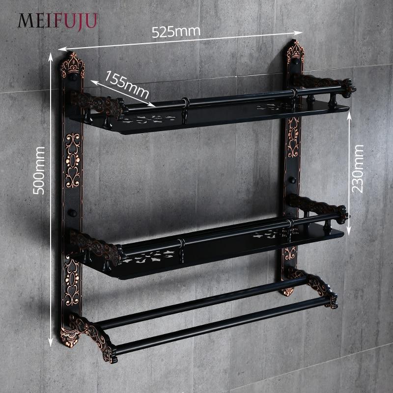 MEIFUJU Aluminum Bathroom Shelf Black Gold Bathroom Shelves Rack ...