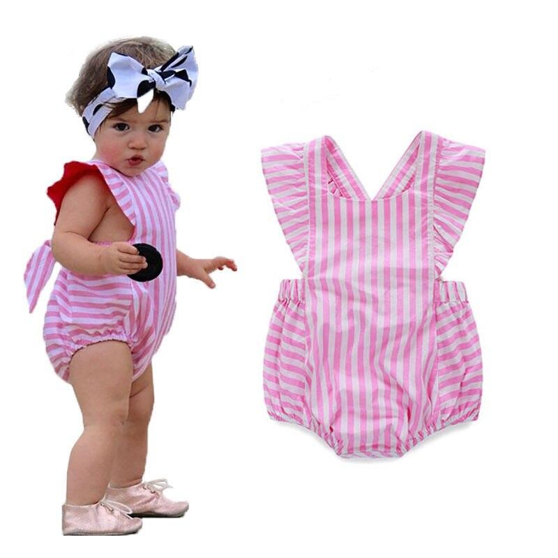 Lovely Infant Baby Girl Striped   Romper   Jumpsuit Outfits Summer Bow Sleeveless Girls   Romper   Sunsuit