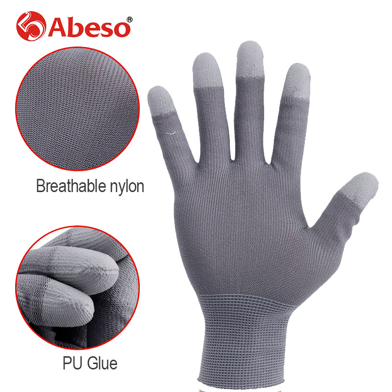 Abeso 1pair Work Gloves ESD Electronic Working Antistatic Gloves Men Pu Palm Coated Finger Antiskid For Finger Safety Gloves