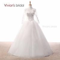Vivian's Bridal White Wedding Dress Ball Gown Wedding Dresses Long Sleeves Bridal Gown Floor Length Wedding Gown