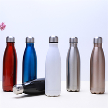 Fashion Water Bottle 500ml Vacuum Insulated Stainless Steel Beer Coffee Cup Solid Color Thermos Hiking Camping