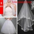 Wholesale Ivory Three-Piece Bridal Veil+Gloves+Petticoat Lace 2016 Fingerless Velos De Novia Casamento Wedding Accessories F002