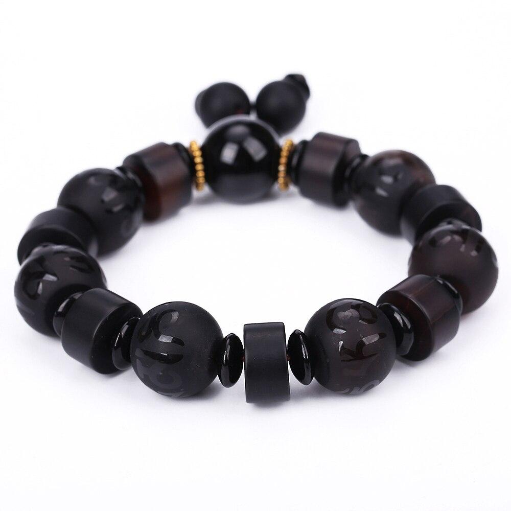 Natural Stone Black Agate Reiki Obsidian Six-Word Mantra Beads Bracelets For Women Men Classic Elastic Jade Buddha Bracelet Gift classic english word heart moon bracelet for women
