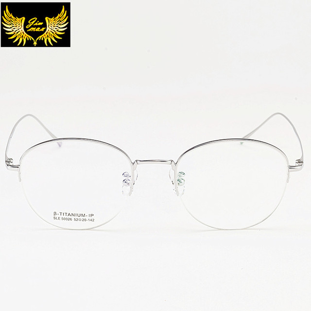 f5e35149d29 High Quality Men Women Style Pure Titanium Eye Glasses Super Light Half Rim Round  Fashion Women Optical Frame for Men Lady Women