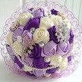 Elegante personalizada novia de la boda ramo con con cuentas de perlas broche y rosas de seda, romántica boda de la novia colorida ' s Bouquet