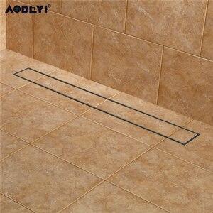 Image 1 - AODEYI 304 вставка для плитки из нержавеющей стали 60 см Прямоугольный линейный анти запах Слив для пола оборудование для ванной комнаты Невидимый душ 11 208