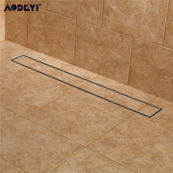 AODEYI 304 Stainless Steel 60cm Tile Insert Rectangular  Linear Anti-Odor Floor Drain Bathroom Hardware Invisible Shower 11-208
