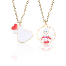 New Fashion Swimwear Beauty Pendant Love Gesture Than Heart Pendant Necklace DIY Alloy Girl Student Chain Necklace Jewelry Gift creative diy fashion plant pendant cartoon cactus necklace gold chain coconut necklace pendant female girl new year gift jewelry