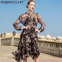 Office Women Runway Dresses 2018 Fashion Summer Flowers Print Belt Top Knee Length Slim OL Ruffles Patchwork Silk Dress