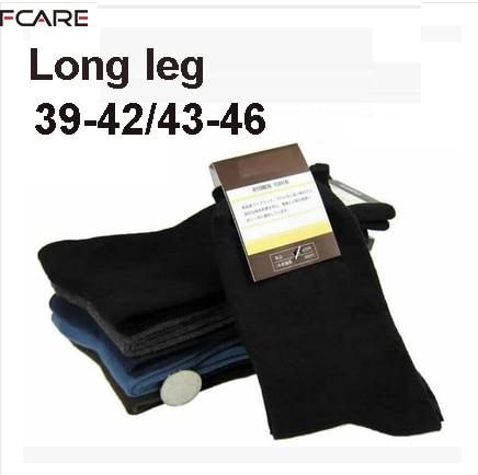 Fcare 10PCS=5 pairs men dress socks black gray long leg socks 39 to 42, 43 to 46 plus size sokken calcetines hombre meias