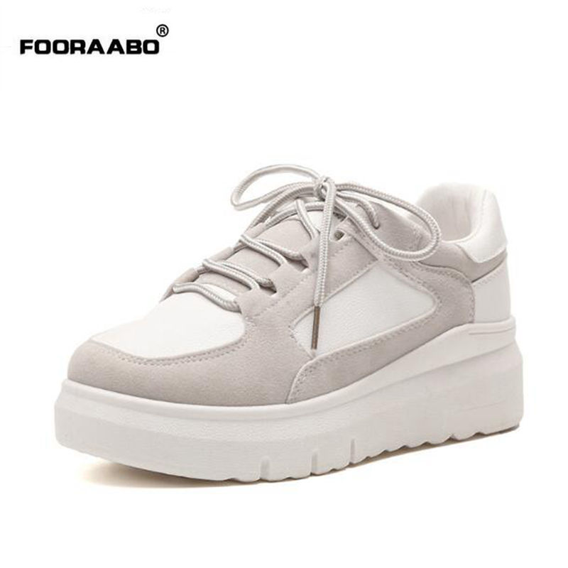 Fooraabo 2017 Korean Original Breathable Women's Casual Shoes Summer Female Classic Platform Walking Women Shoes Zapatos Mujer summer lover shoes casual loafer women footwear style shoes chaussure zapatillas mujer female breathable walking shoes 6266f