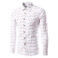 Mens Designer Shirts 2017 Men's Fashion Leisure Comfortable Breathe Freely Pure Cotton Men's Long Sleeve  Floral Shirts Men