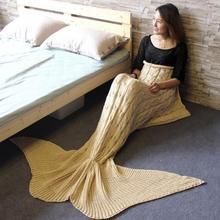 Creative Knitted Mermaid Tail Blanket Handmade Crochet Mermaid Striped Blanket Fashion Acrylic Material Soft Sofa Blanket
