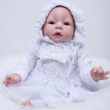 White Princess Girl Reborn Doll 20 Inch 50 cm Real Touch Newborn Babies Dolls Alive Toy With Rooted Mohair Kids Birthday Gift