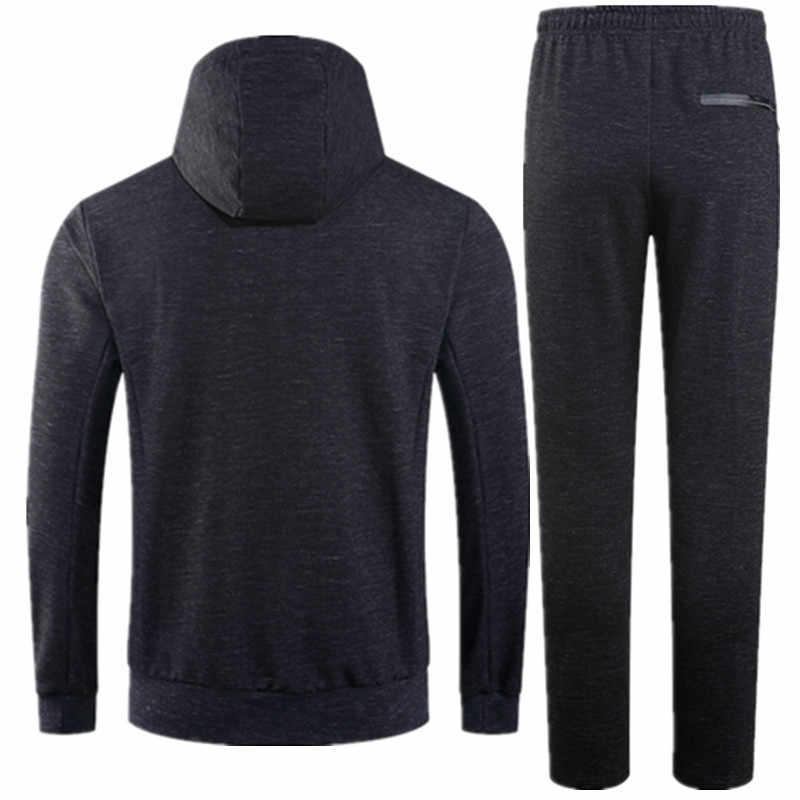 Rlyaeiz 2018 Herfst Winter Tweedelige Set Mannen Trainingspak Casual Fitness Pure Kleur Rits Hoodies + Shorts Sets Mens Zweet pak