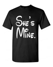 Funny T Shirt Brand MenS Short Sleeve O-Neck SheS Mine Super Cute Cartoon Character Couple Beauty Love