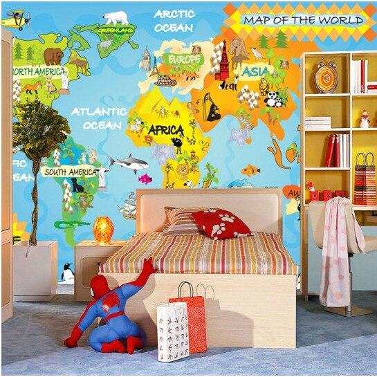 € 22.6 |Haute qualité Stéréo de dessin animé des enfants chauds chambre  personnalité de la mode grand mural carte du monde TV fond chambre 3D ...