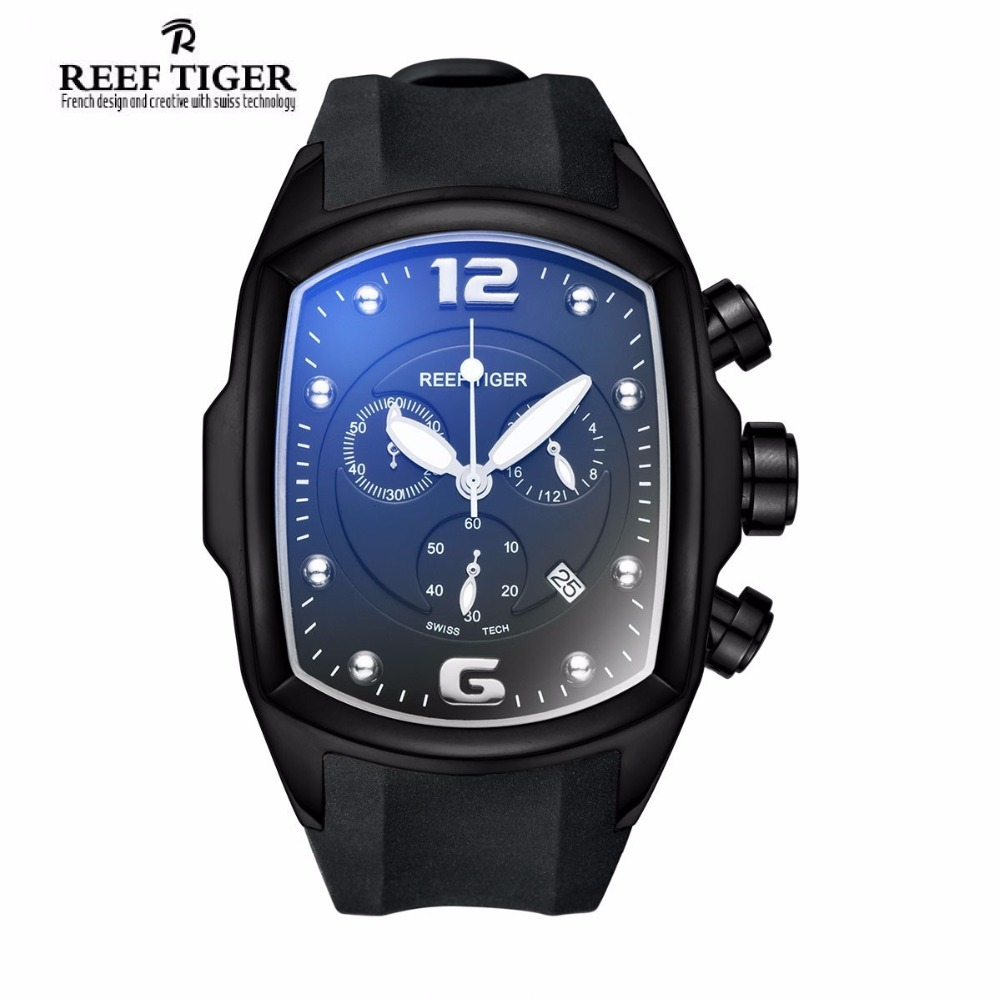 Reef Tiger/RT Chronograph Sport Watches for Men Big Dial with Date Design Watch Steel Rubber Strap Luminous Watches RGA3068 2017 reef tiger rt mens designer chronograph watch with date calfskin nylon strap luminous sport watch rga3033