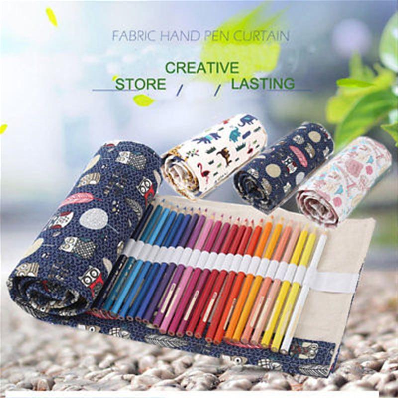Manual Printed Canvas Wrap Roll Up Pencil Pen Case Bag Makeup Pouch hot