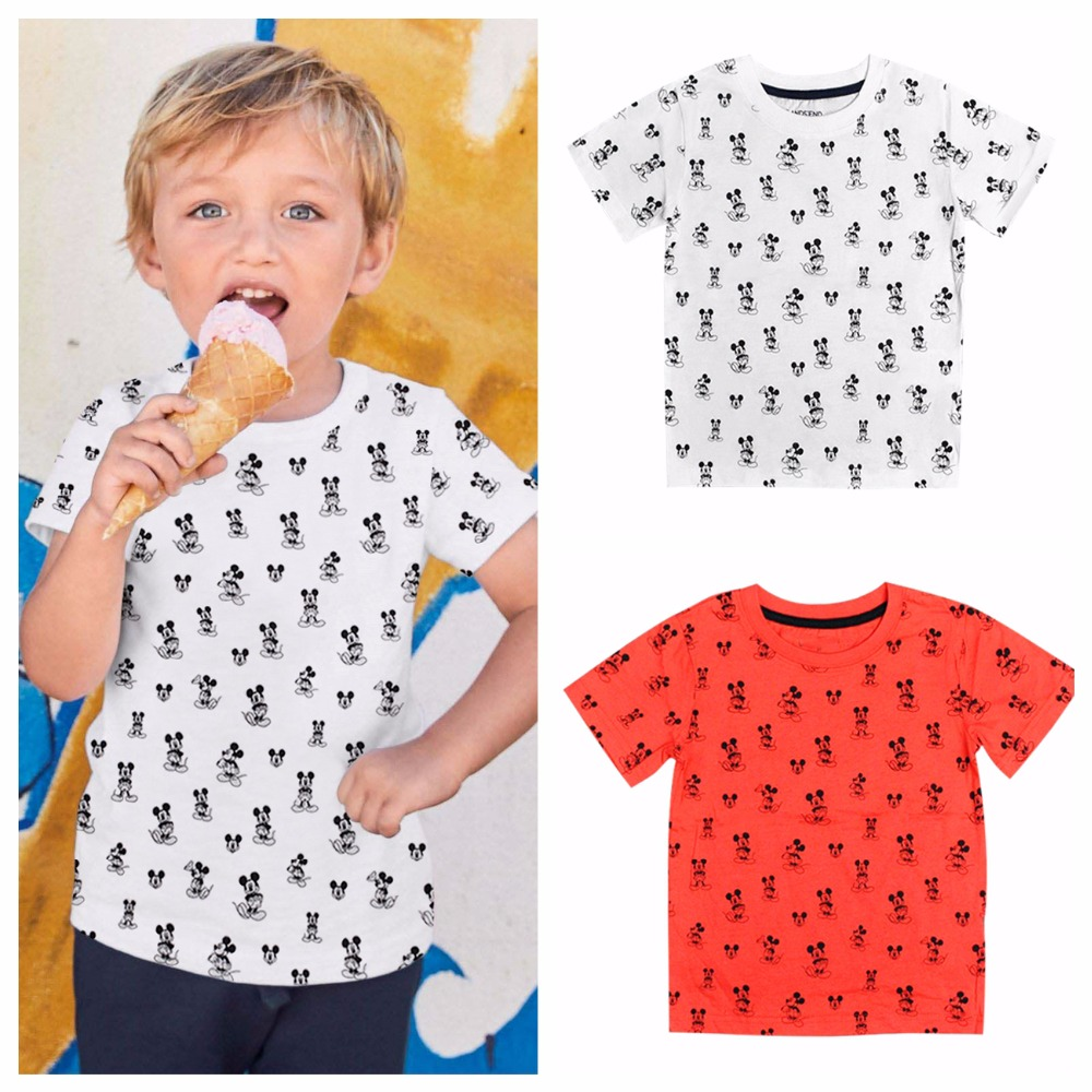 fashion boys Summer Mickey Cartoon mouse printing top T shirt girls Cotton white & red Short sweatshirt kids birthday clothes xmas white tank top 2nd sparkle red birthday number with red snowflakes ruffles