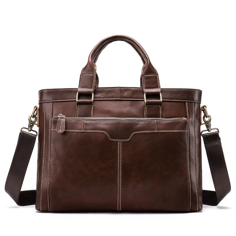 New Luxury 100% Cow Genuine Real Leather Business Men's Briefcase Male Shoulder Bag Men Messenger Bag Tote Computer Handbag