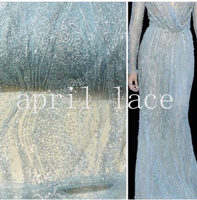 5yards HL001 glued sparkle glitter light blue mesh net tulle lace fabric  for india african sawing  evening dress bebc77788079