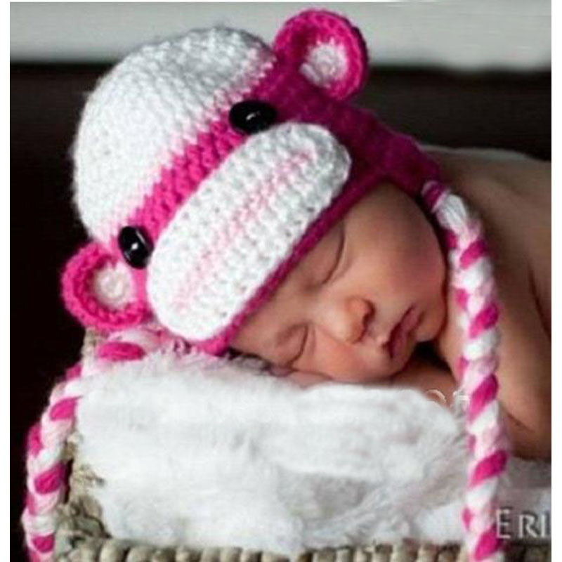 100% milk cotton Handmade multicolor soft monkey hat / knitting baby hats girl style/Crochet Beanie MK008