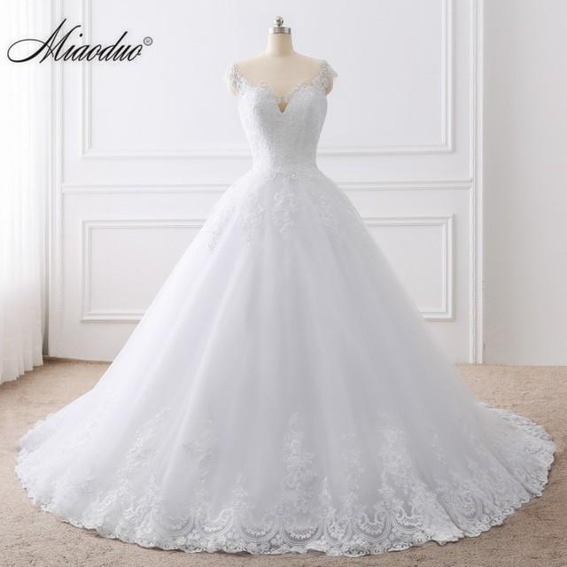 Miaoduo 2021 Ball Gown Wedding Dresses for Women Plus Size White Vestidos De Noivas Lace Applique robe de mariee 1