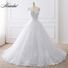 2019 Ball Gown White Wedding Dress Lace Appliques Bridal Gow