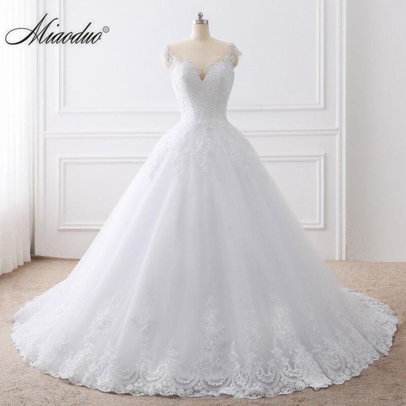 2019 Ball Gown White Wedding Dress Lace Appliques Bridal Gowns Vestido De Novias Princess Long robe de mariee Plus Size Elegant(China)