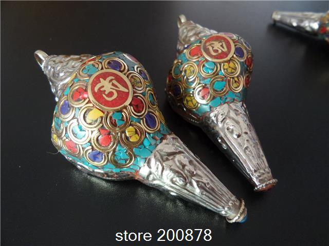 ᑐTBP789 tibetanos de cobre mar flor Caracol amuletos de OM, Tibet