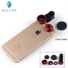 GULYNN Fish eye universal 3 in 1 mobile phone chip lenses fisheye wide angle macro camera for iphone 6s 7 7plus samsung S6 S5 S4 все цены