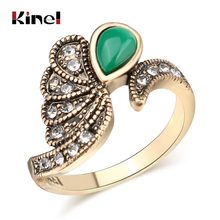 Kinel 2020 Vintage Rings For Women Antique Gold Mosaic Green Resin White Rhinestone Party Ring Boho Jewelry Wholesale