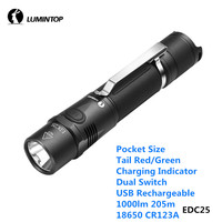 LuminTop EDC25 USB Rechargeable Pocket Flashlight Dual Switch 1000lm 205m 18650 CR123A light with Red Green Charging Indicator