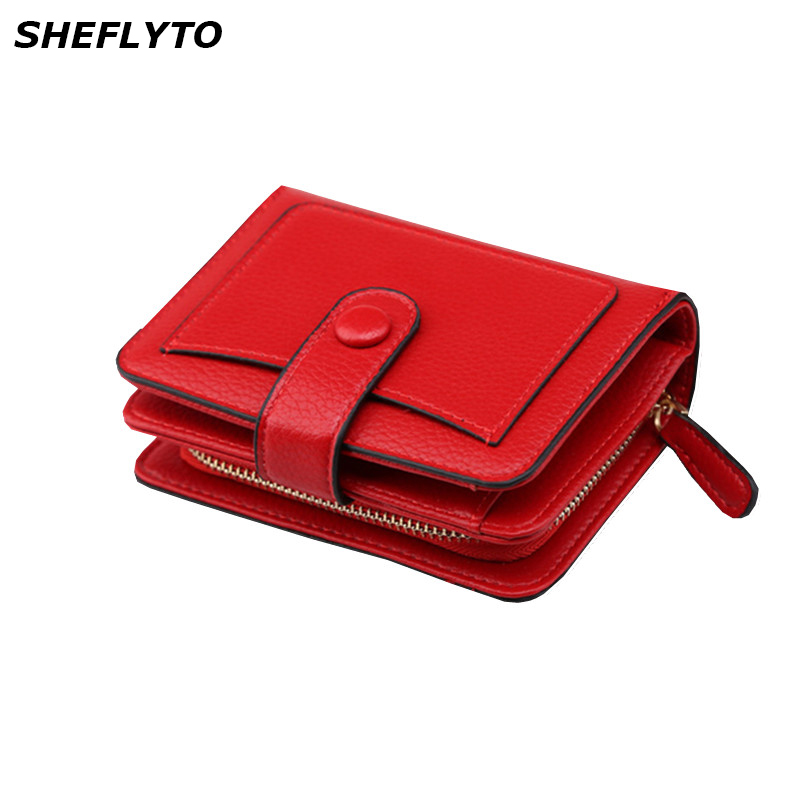 2018 New Women Wallets Luxury Brand Small Mini Coin Purse Hasp Card Holder Lady Wallet Zipper Female Leather Buckle Red Black new fashion women wallet female purse brand mini zipper short wallets lady id card holder pocket