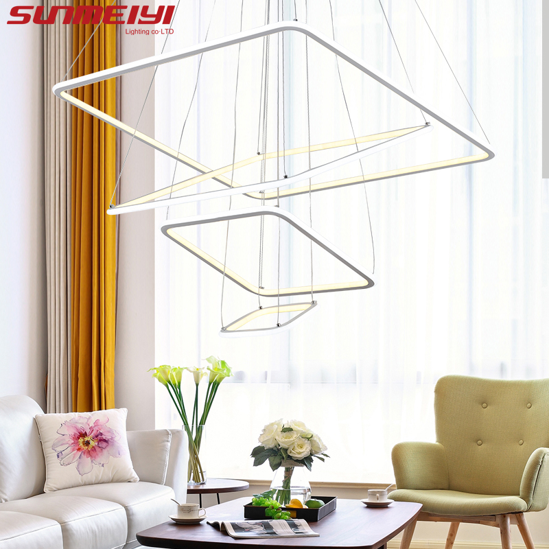 Modern 3 square rings LED Pendant Lights For Living Room Dining room light Pendant Lamp Hanging Ceiling luminaire LED Lamp newacalox needle tip probe test leads pin hot universal digital multimeter multi meter tester lead probe wire pen cable 20a